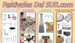Alquiler de sillas, alquiiler de vajillas, alquiler de estufas, venta de moqueta.
