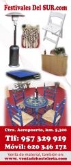 Sillas sevillanas, escenarios, estufas, barras de madera.