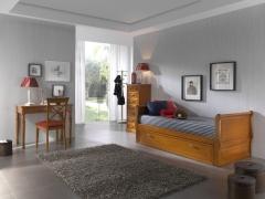 Dormitorio juvenil con cama nido barco.
