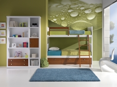 Dormitorio juvenil con litera y libreria