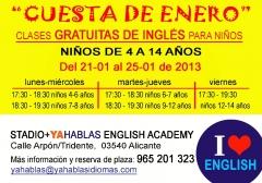 En la cuesta de enero ofrecemos una semana de clases gratuitas de inglés para niños. para horarios y