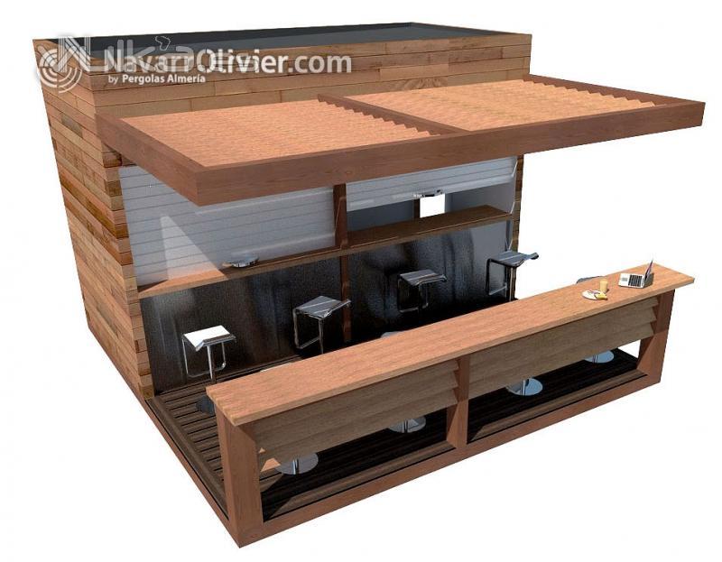 Foto infografia de chiringuito de madera desmontable for Kiosco bar madera