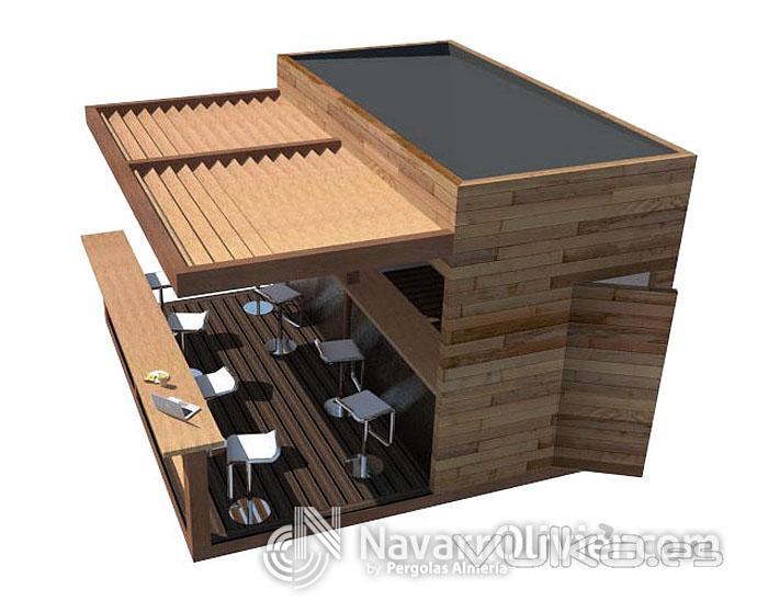 Foto kiosco de madera con terraza y pergola by for Kiosco de madera para jardin