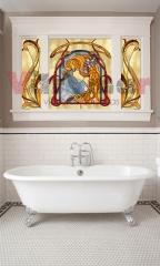 Ventanal art nouveau. ventanal tr�ptico de ba�o con motivos art nouveau y vidrio opalescente