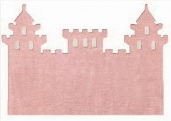 Alfombra infantil castillo rosa. de algod�n y apta para lavadora.
