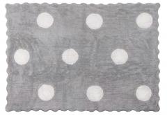 Alfombra infantil topos gris. de algod�n y apta para lavadora.