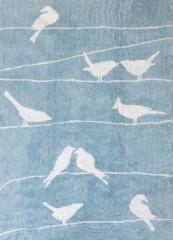 Alfombra infantil palomas celeste. de algod�n y apta para lavadora.