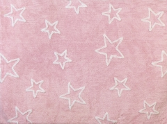 Alfombra infantil estrellas rosa. de algod�n y apta para lavadora.