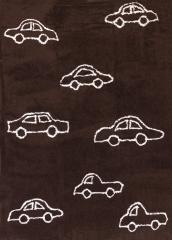 Alfombra infantil coches marr�n. de algod�n y apta para lavadora.