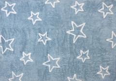 Alfombra infantil estrellas celeste. de algod�n y apta para lavadora.