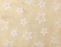 Alfombra infantil estrellas beige. de algod�n y apta para lavadora.