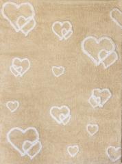 Alfombra infantil corazones beige. de algod�n y apta para lavadora.