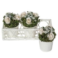 Arreglo floral jardinera tres macetas rosas 1 - la llimona home