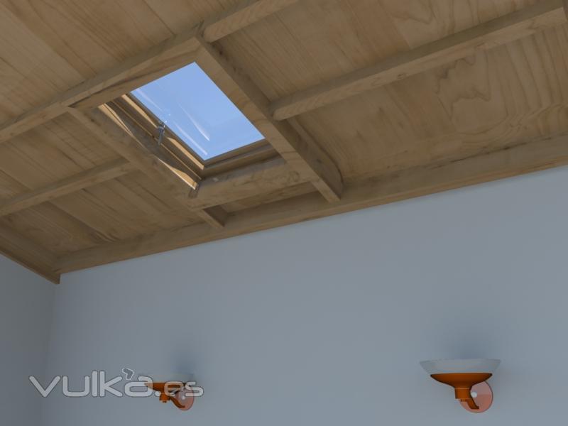Foto claraboyas en techo de madera lanzarote for Claraboyas para techos