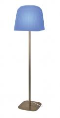 Lámpara de pie con estructura de hierro y pantalla de cintas, ribbon azul..
