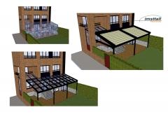 Proyecto con techo móvil de cristal y con pérgola de altas prestaciones.