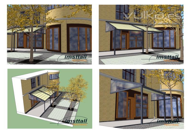 Foto proyecto de toldo con estructura para terraza de bar - Estructura para toldos ...