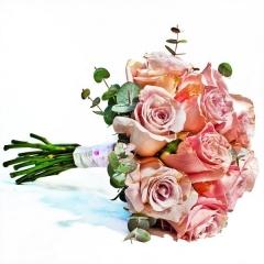 Ramo de novia en rosas rosas