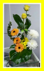 Centro de flores rosas amarillas, gerberas y anastasias