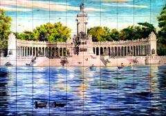 Estanque del retiro en madrid / mural de azulejos pintados a mano