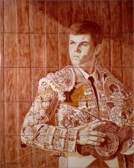 Retrato de ismael cuevas / realizado en azulejos de 15x15 cm.