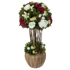 Arreglos florales artificiales. arreglo floral bola natural rojo 35 - la llimona home