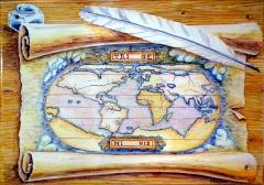 Mapamundi antiguo en pergamino. realizado en una placa de 45x31,5cm.