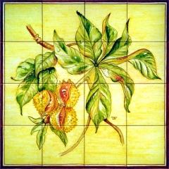 Casta�o de indias pintado a mano en azulejos de 15x15cm.