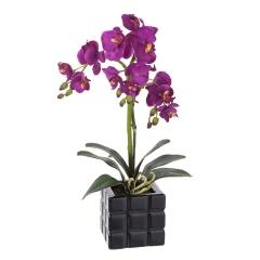 Planta flores orquideas artificiales maceta cuadrada negra - la llimona home