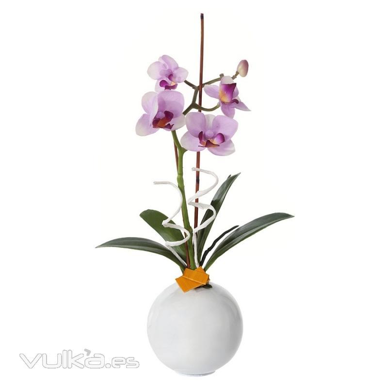 Foto arreglo floral orquideas artificiales lilas con for Orquideas artificiales