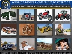 Quirino & brokers - nuestra gama de seguros relacionados con la circulación de vehículos.