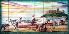 Escena sacando el copo en fuengirola, principios del siglo xx. mural de azulejos cocidos a 980�c.