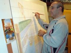 Jos� angulo pintando sobre azulejos en el taller. patio de los arrayanes, alhambra 210x135cm.