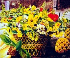 Cesto de mimbre con flores amarillas. Mural de de azulejos 90x75cm.
