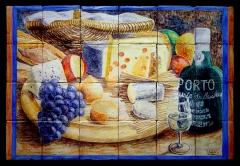 Bodegón con quesos, uvas y vino de Oporto