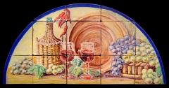 Bodegón con uvas, vino, lebrillo y garrafa