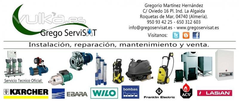 GREGO SERVISAT. Instalaciones, reparaciones y mantenimientos. SAT Karcher, Ebara, Wilo. Almería