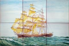 Velero Cutty Sark en alta mar. Panel de azulejos 45x30cm.