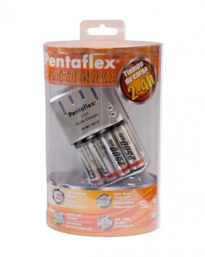 Cargador Rápido PENTAFLEX C 513 (2-4h) + 4 baterías AA 2.500 mAh 11,95 EUR  (IVA y ENVÍO INCL)