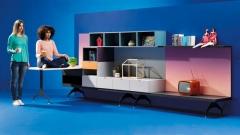 Composicion de muebles life box que puede servir de despacho o de salon