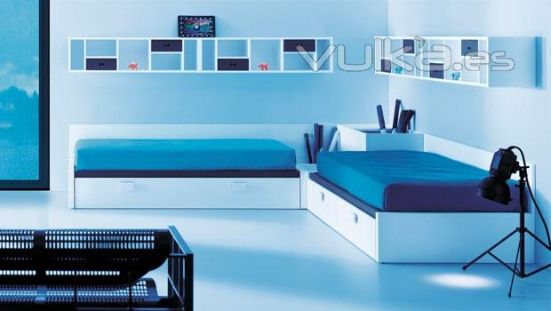 Foto dormitorio juvenil moderno con 2 camas con canape for Dormitorio juvenil 2 camas