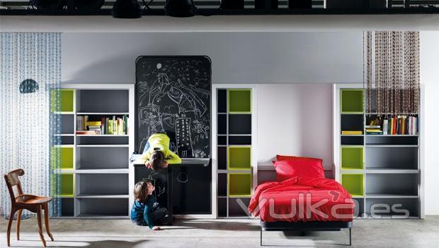 Foto dormitorio juvenil ideal para habitaciones con poco - Habitaciones infantiles dobles poco espacio ...