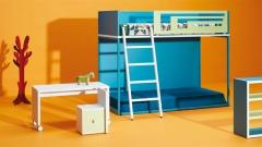 Composicion de muebles juveniles con una litera fija y escritorio infantil con ruedas