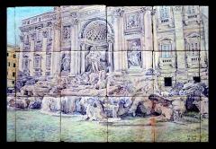 Fontana di Trevi, Roma. Mural de azulejos rústicos 70x45cm.