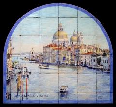 Canal Grande, Venecia. Mural de azulejos rústicos 90x75cm.