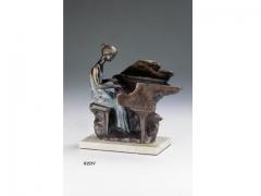 Figura piano verde, con acabos en bronce. llu�s jord�.