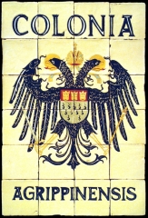 Escudo heráldico Colonia Agrippinensis de azulejos rústicos,  60x90cm.