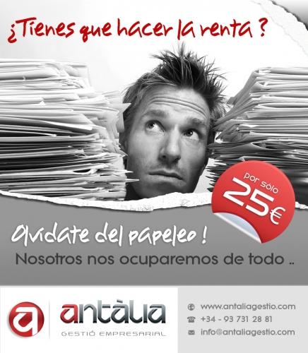 Tu renta 2013 por 25euros - ANTALIA GESTIO EMPRESARIAL - TERRASSA