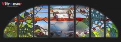 Vidrieras art�sticas en cobre o tiffany para ventanas abatibles con dise�o tropical