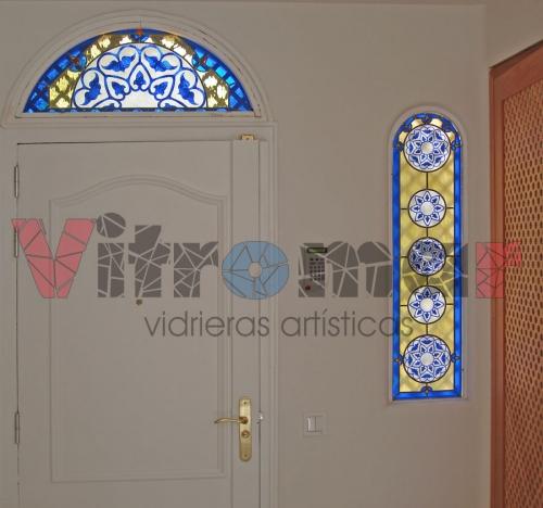 Vidrieras artísticas emplomadas para entrada, talladas con arena a presión